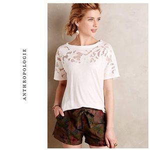 Anthropologie Blossomed Lace tee - White